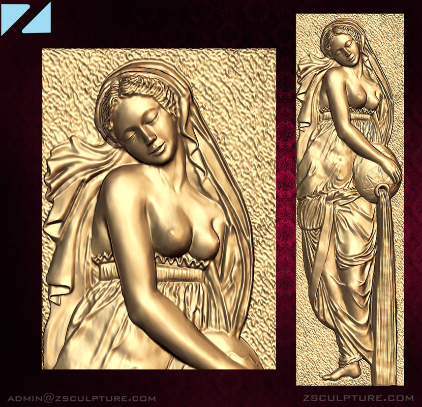stl girl pitcher bas-relief 3D model