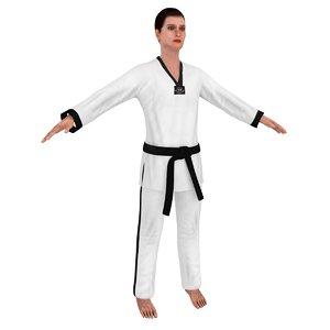 3D model female taekwondo woman
