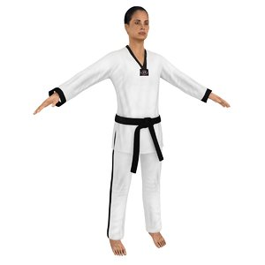 3D female taekwondo woman model