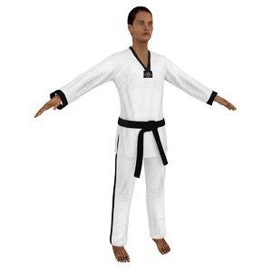 female taekwondo 4 woman 3D model