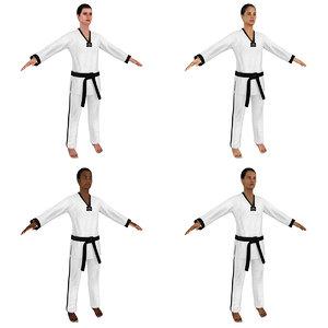 female taekwondo woman 3D