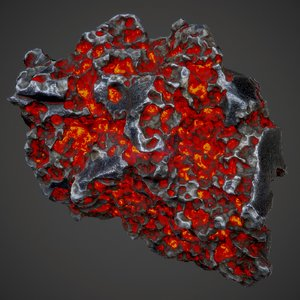 pitted volcanic rock glowing 3D model