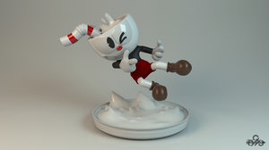 3D cuphead character model