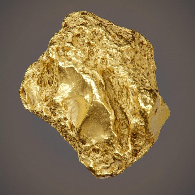 gold nugget pbr - 3D model