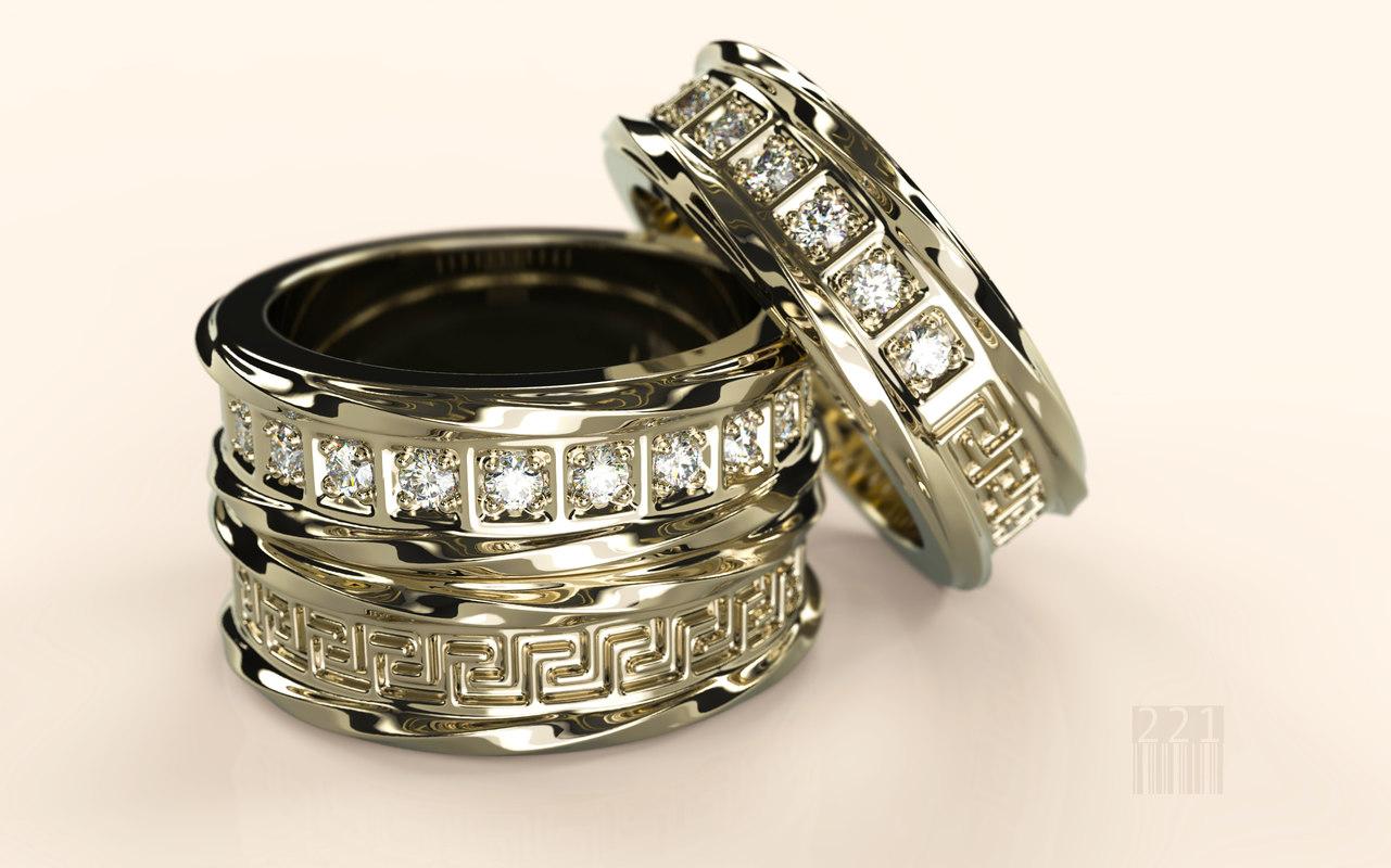 3D model ring patterns diamonds