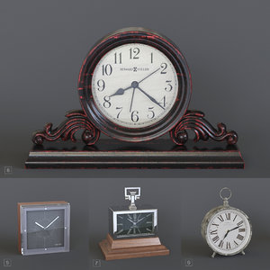 4 table clocks 3D
