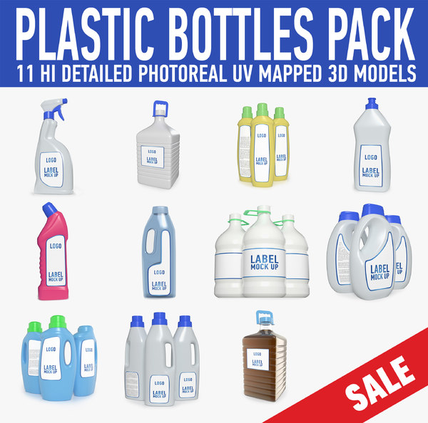 plastic bottles collected 3D model