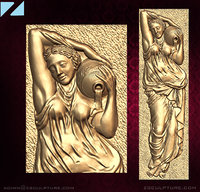 stl girl pitcher bas-relief 3D model