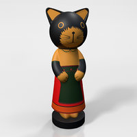 wooden cat figurine 3D