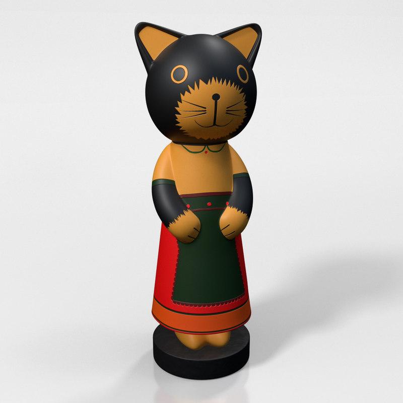 wooden cat figurine 3D