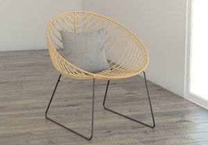 rotin chair armchair 3D model