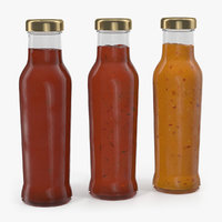 3D barbecue sauces bottles model