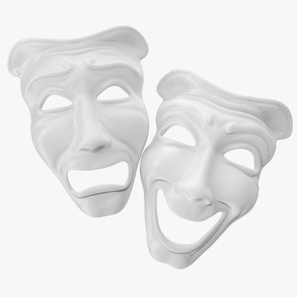3D model comedy tragedy theater masks