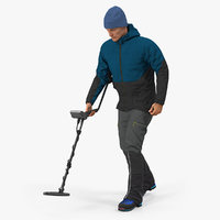 man metal detector searching 3D model