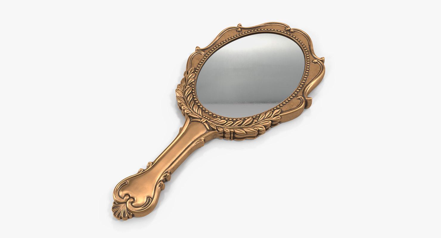 3D old brass hand mirror model