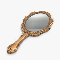 3D old brass hand mirror model