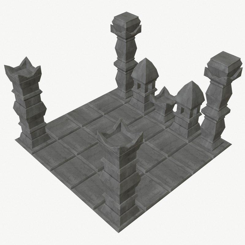modular stone temple pieces 3D model