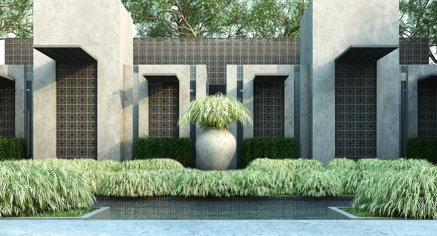 3D japanese forest grass model