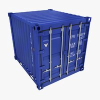 container 10ft blue 3D model