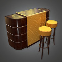 Bar Table and Stools (Art Deco) - PBR Game Ready