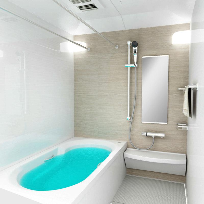 3D model unit bathroom bath