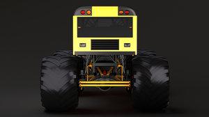 3D monster truck school bus