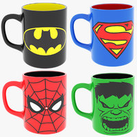 super heroes coffee mugs 3D model