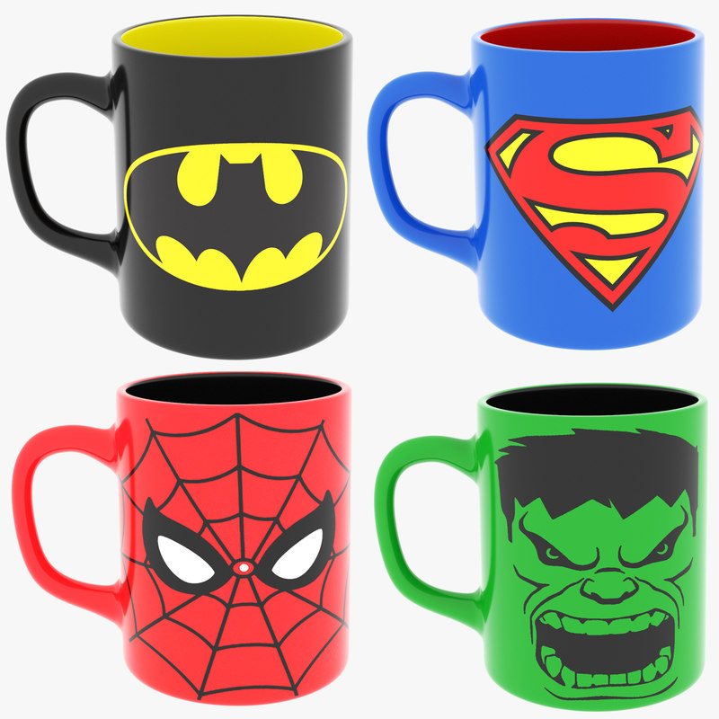 super heroes coffee mugs 3D model