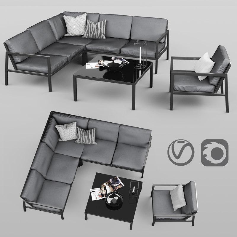 3D set metal outdoor furniture