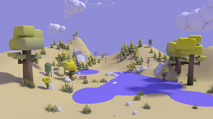 pack trees clouds 3D model