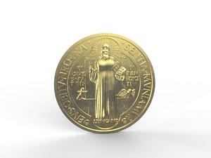 3D coin relief saint benedict