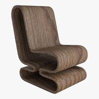 3D wood chair model