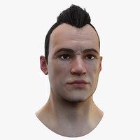 3D model realistic head hair