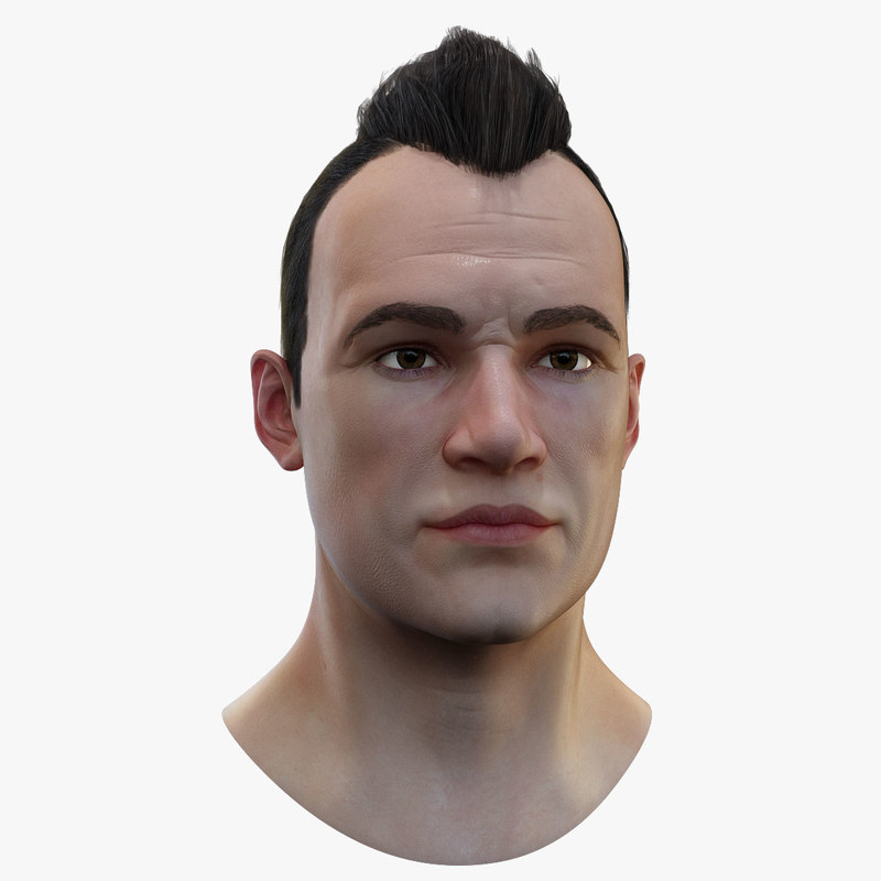 3D model realistic head hair