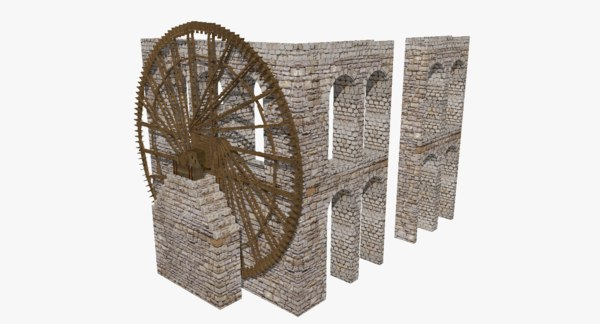 antique roman aqueduct water wheel model