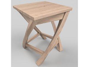 3D model tabouret en bois