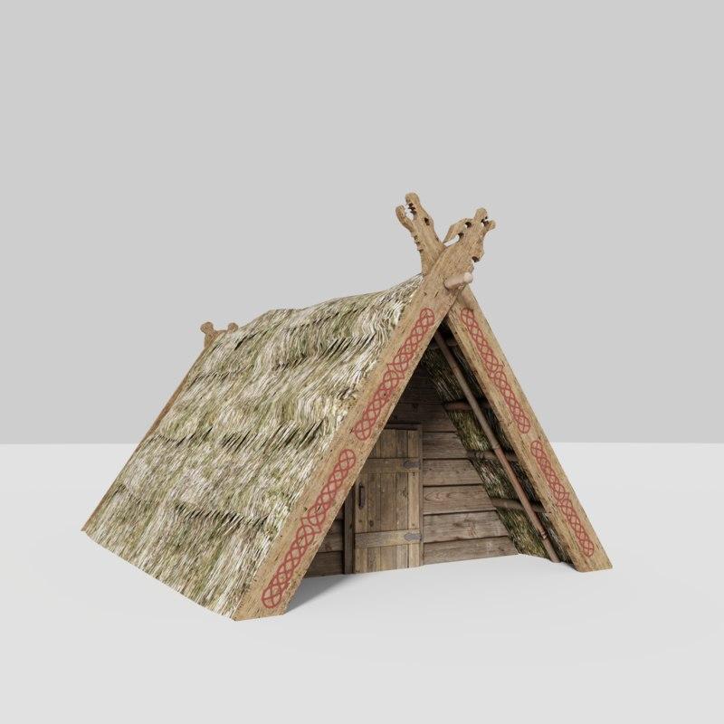 medieval straw hut 3D model