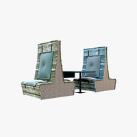 seating cafe booth 3D model