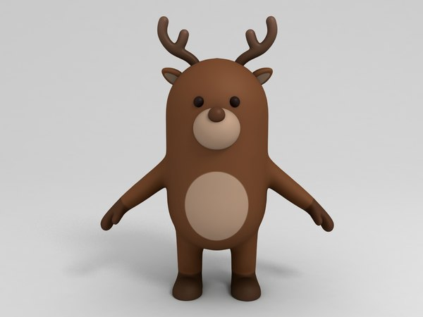 deer cartoon reindeer 3D model
