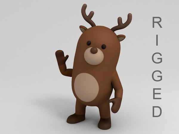 3D model reindeer cartoon rigged