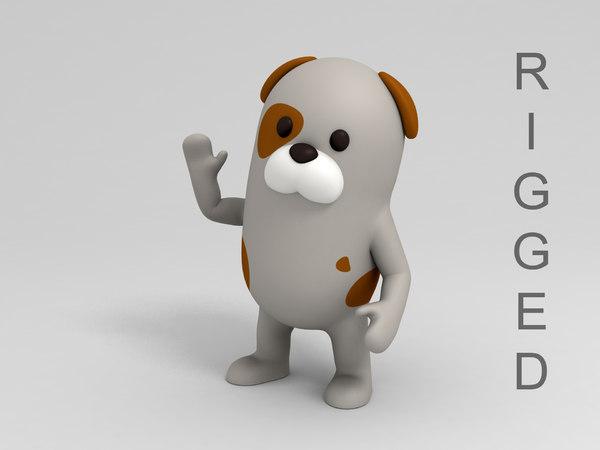 3D dog cartoon rigged