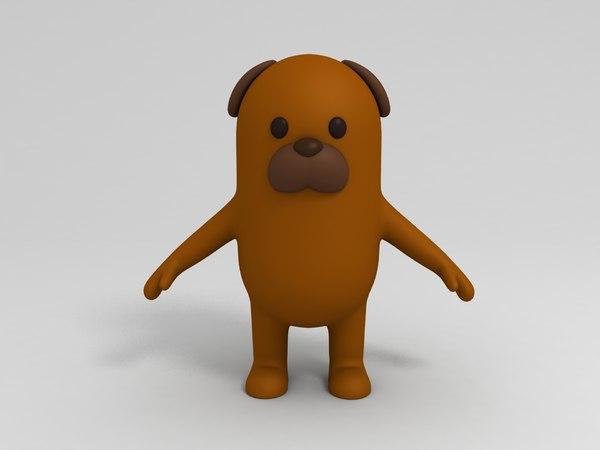 brown dog cartoon 3D