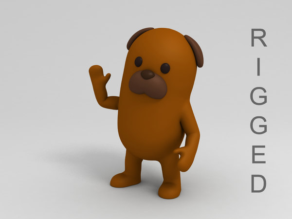 brown dog cartoon rigged 3D model