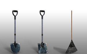 3D lawn rake fork shovel model