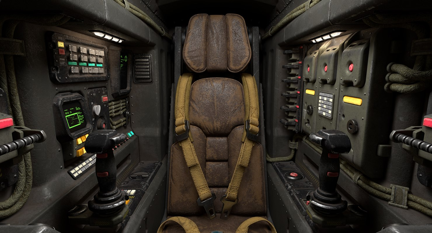 3D science fiction cockpit