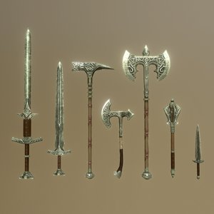 3D skyrim steel weapons -