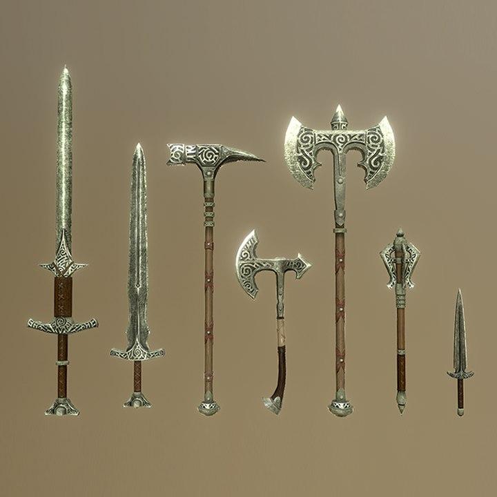 3D skyrim steel weapons -