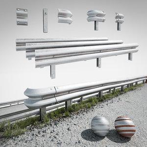3D road fence kit model