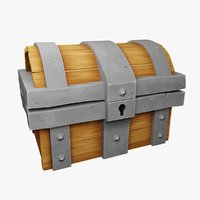 3D rigged treasure chest model