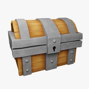 3D rigged treasure chest model